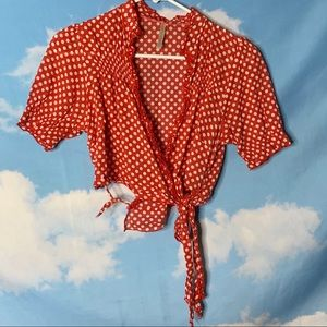 Be Cool- Red Shrug w/ White Dots size Medium